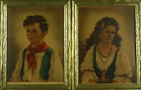 Pair of Framed Prints of Boy and Girl