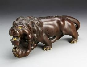 Chinese Wood Carving of Lions