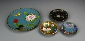 Four Chinese Cloisonne Plates
