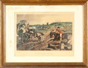 Vintage Print Of Horse Racing, Framed