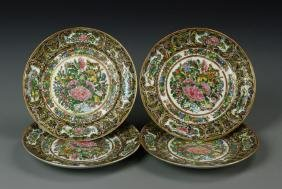 Four Chinese Rose Medallion Dishes