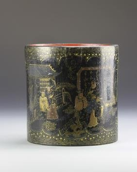 Chinese Lacquered Wood Brush Pot