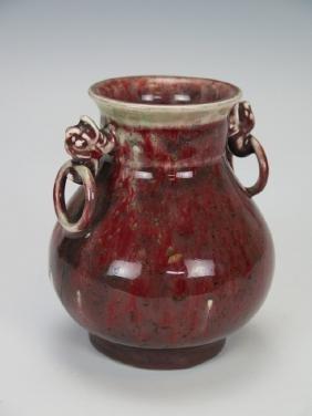 a peach bloom-glazed vase