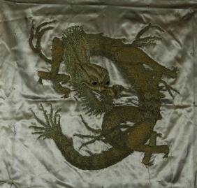 Japanese Embroidery Dragon Panel