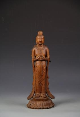 Asian Hardwood Standing Buddha