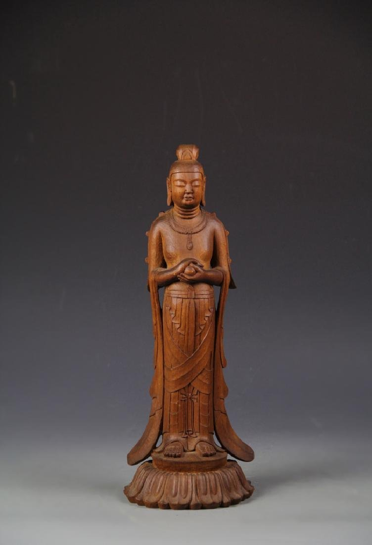 Asian Hardwood Standing Buddha