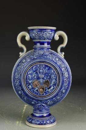 European Carved Blue Glazed Vase