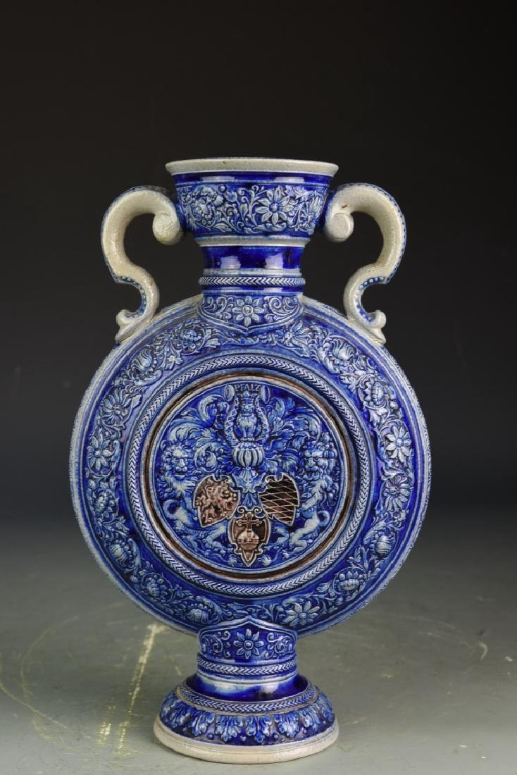 European Carved Blue Glazed Vase