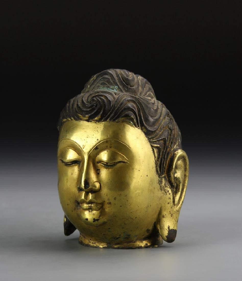 Chinese Gilt Buddha Head