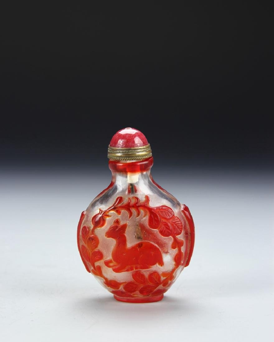 Chinese Carved Peking Glass Snuff Bottle