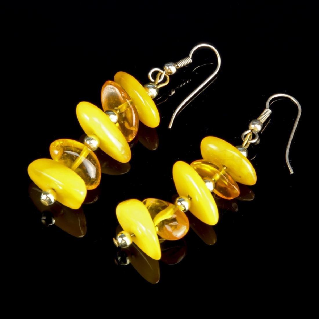 Pair of Chinese Amber Earrings