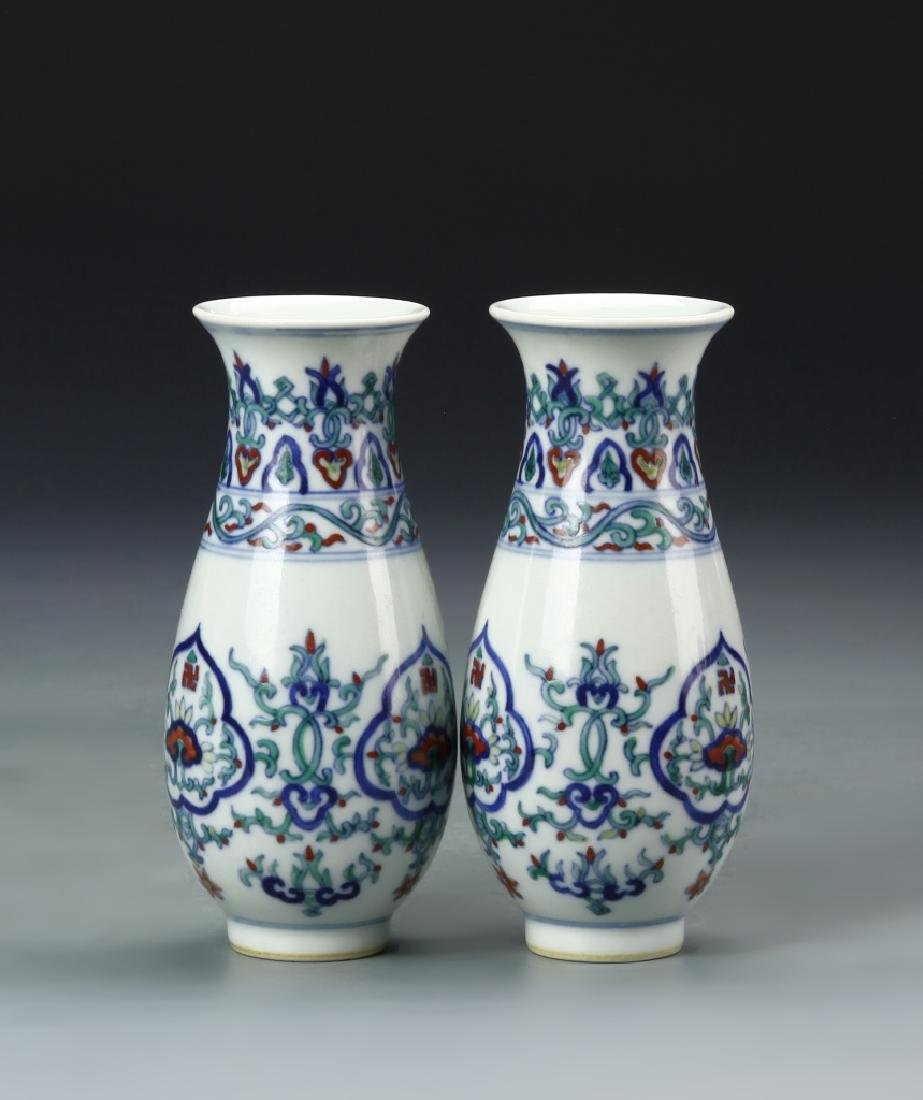 Pair of Chinese Doucai Vases - 6