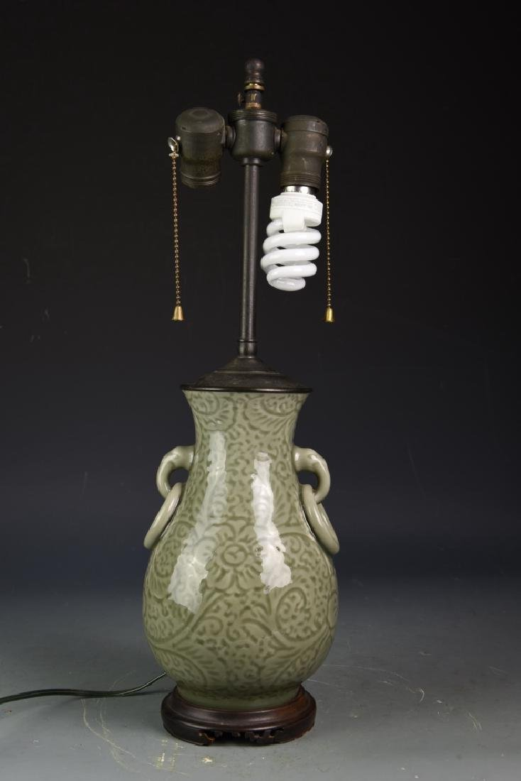 Chinese Celadon Vase Converted Lamp