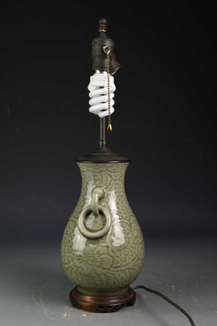 Chinese Celadon Vase Converted Lamp - 2