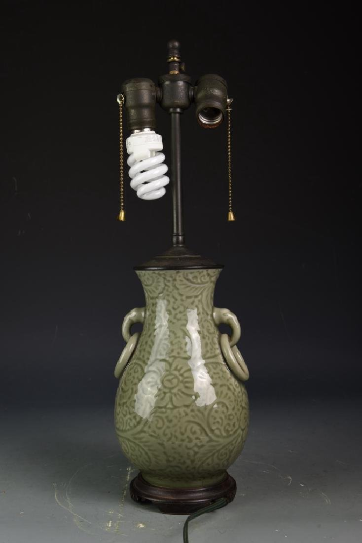 Chinese Celadon Vase Converted Lamp - 3
