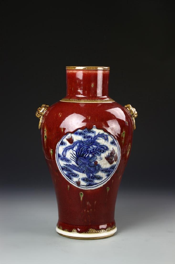 Chinese Oxblood Glazed Vase - 4