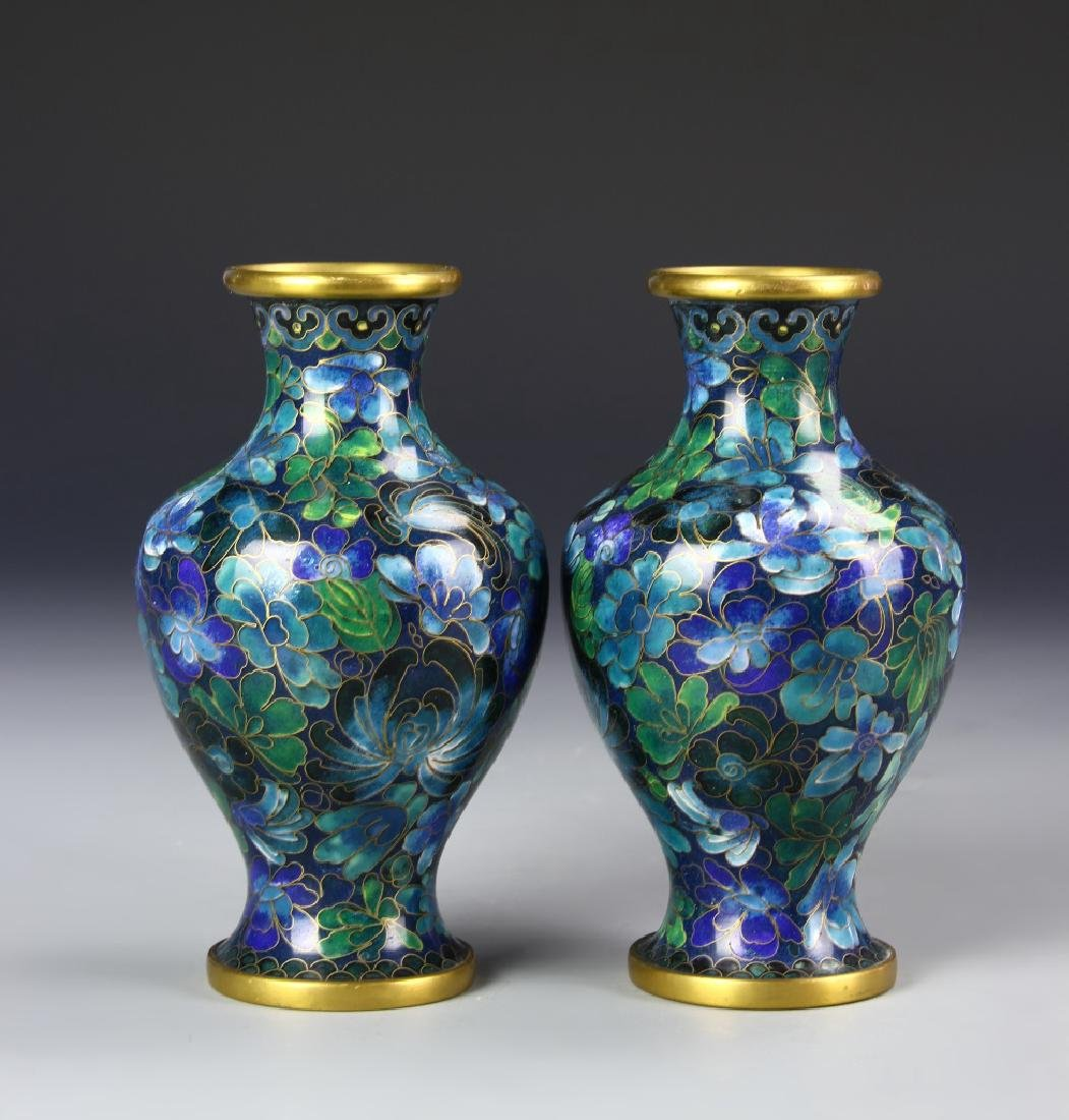 Chinese A Pair Of Cloisonne Vases