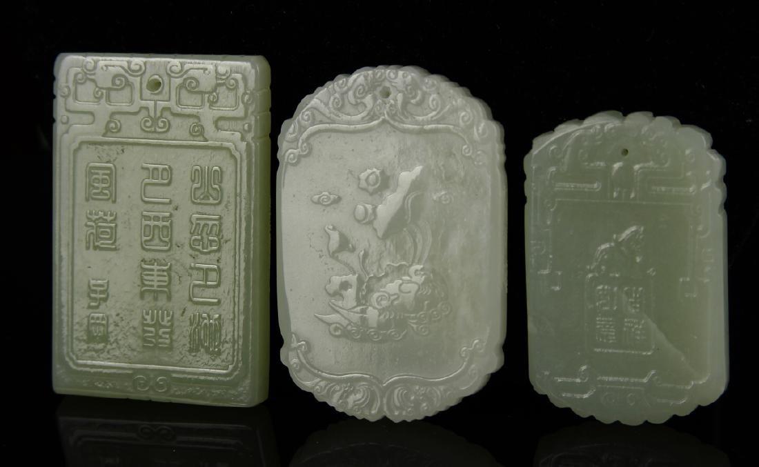 Chinese 3 Jade Pendant - 3