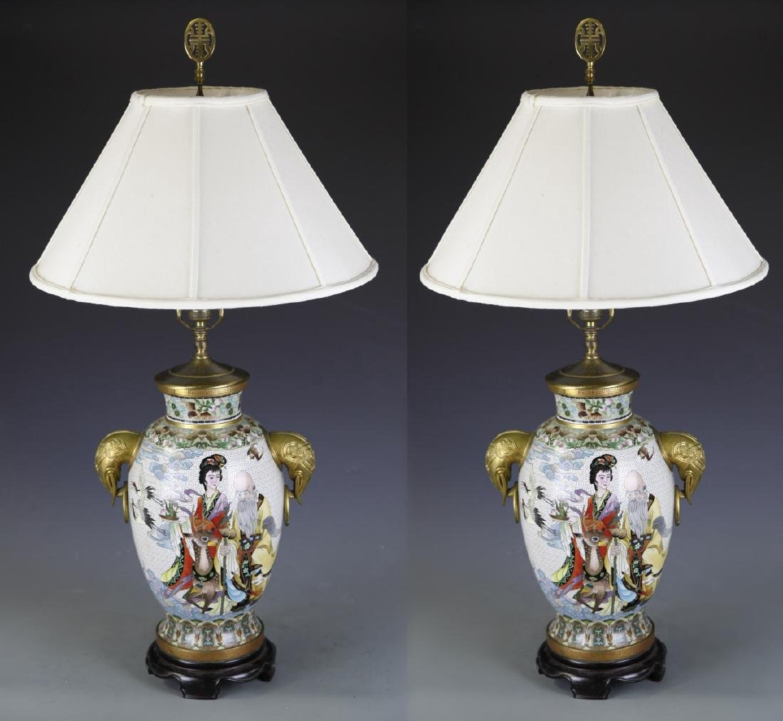Chinese Cloisonne Lamp Vases