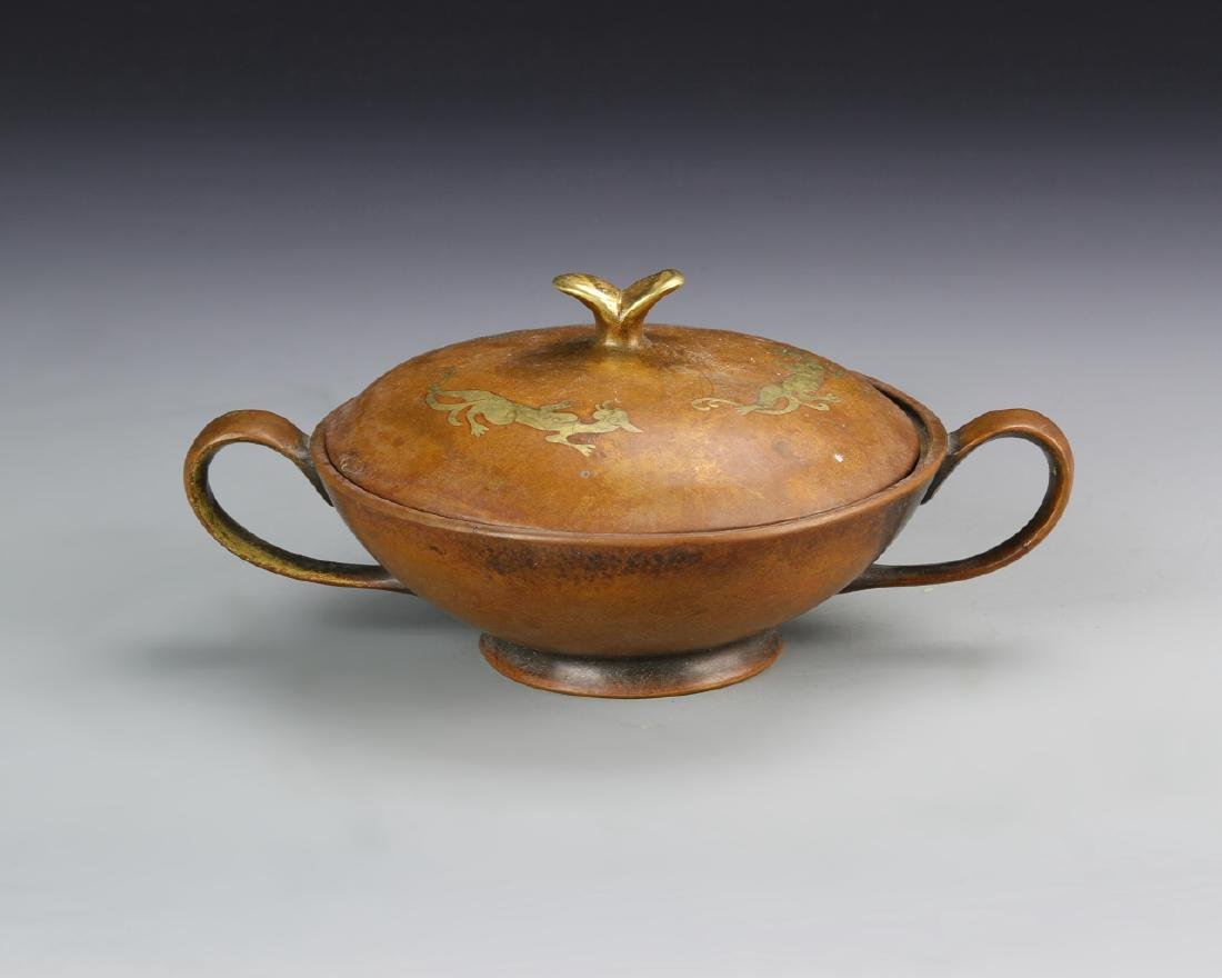 Chinese Covered Bronze Bowl