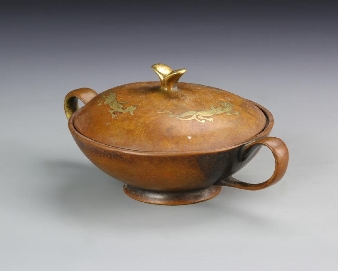 Chinese Covered Bronze Bowl - 2