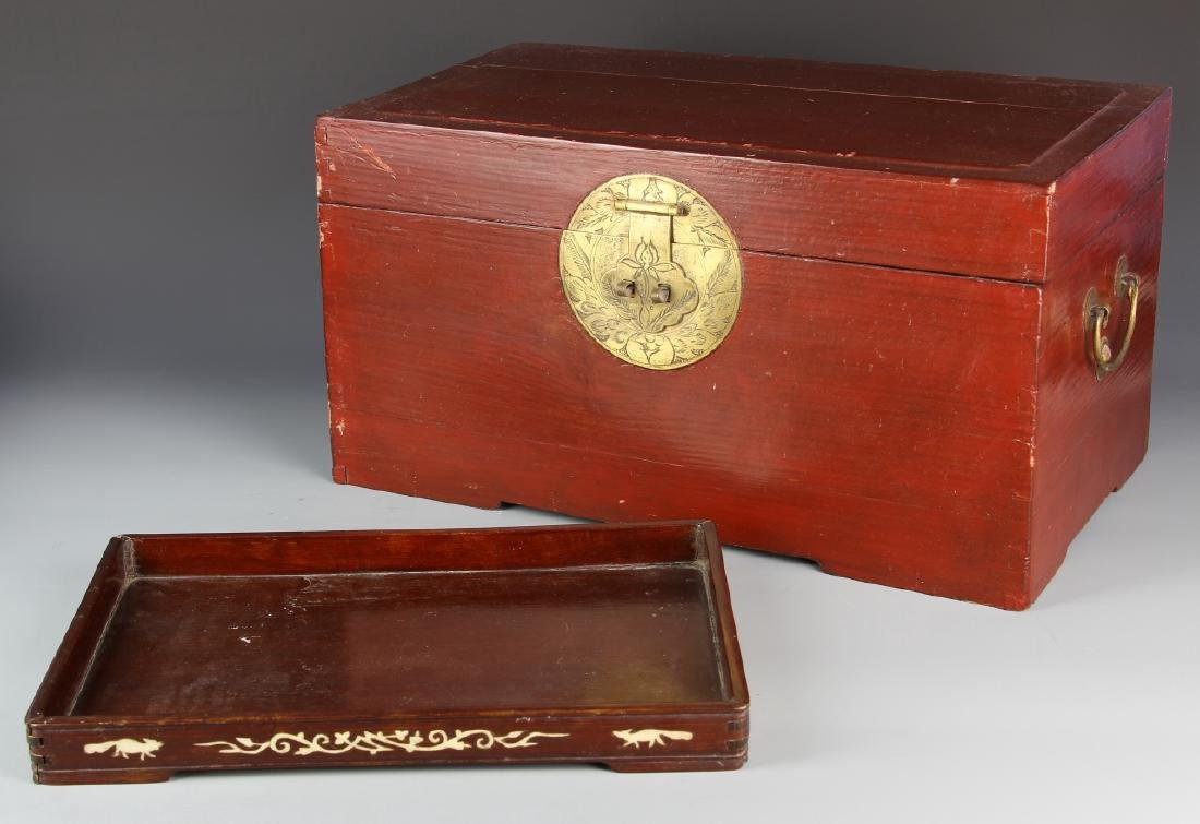Chinese Wooden Box And Tray