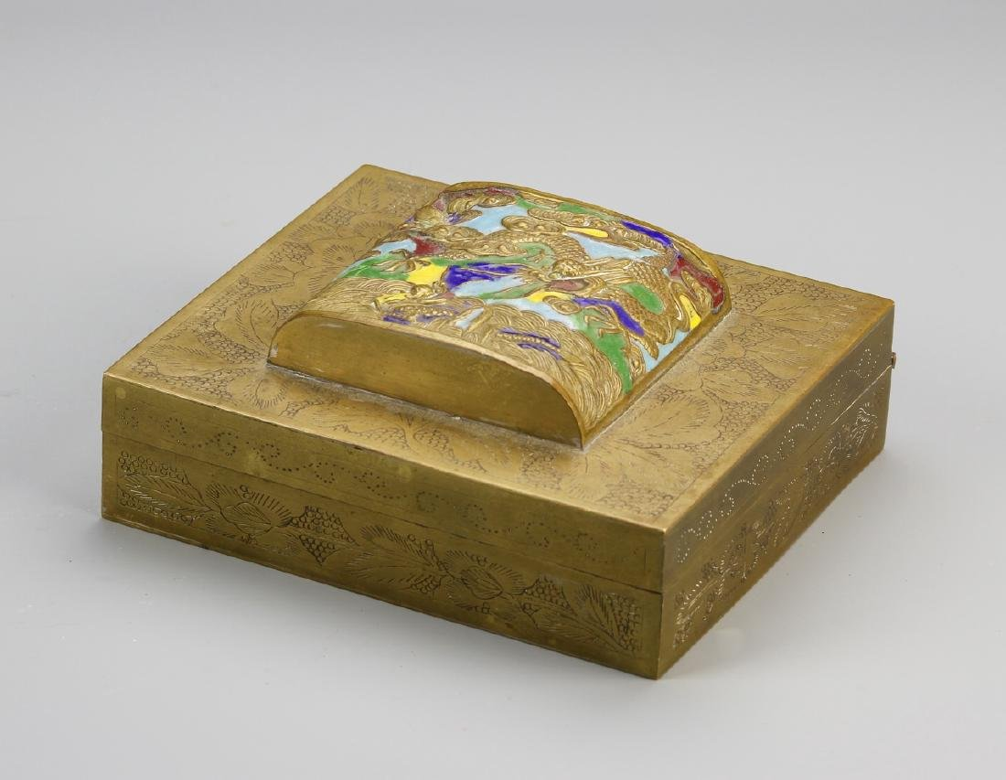 Chinese Enamel and Brass Ink Box