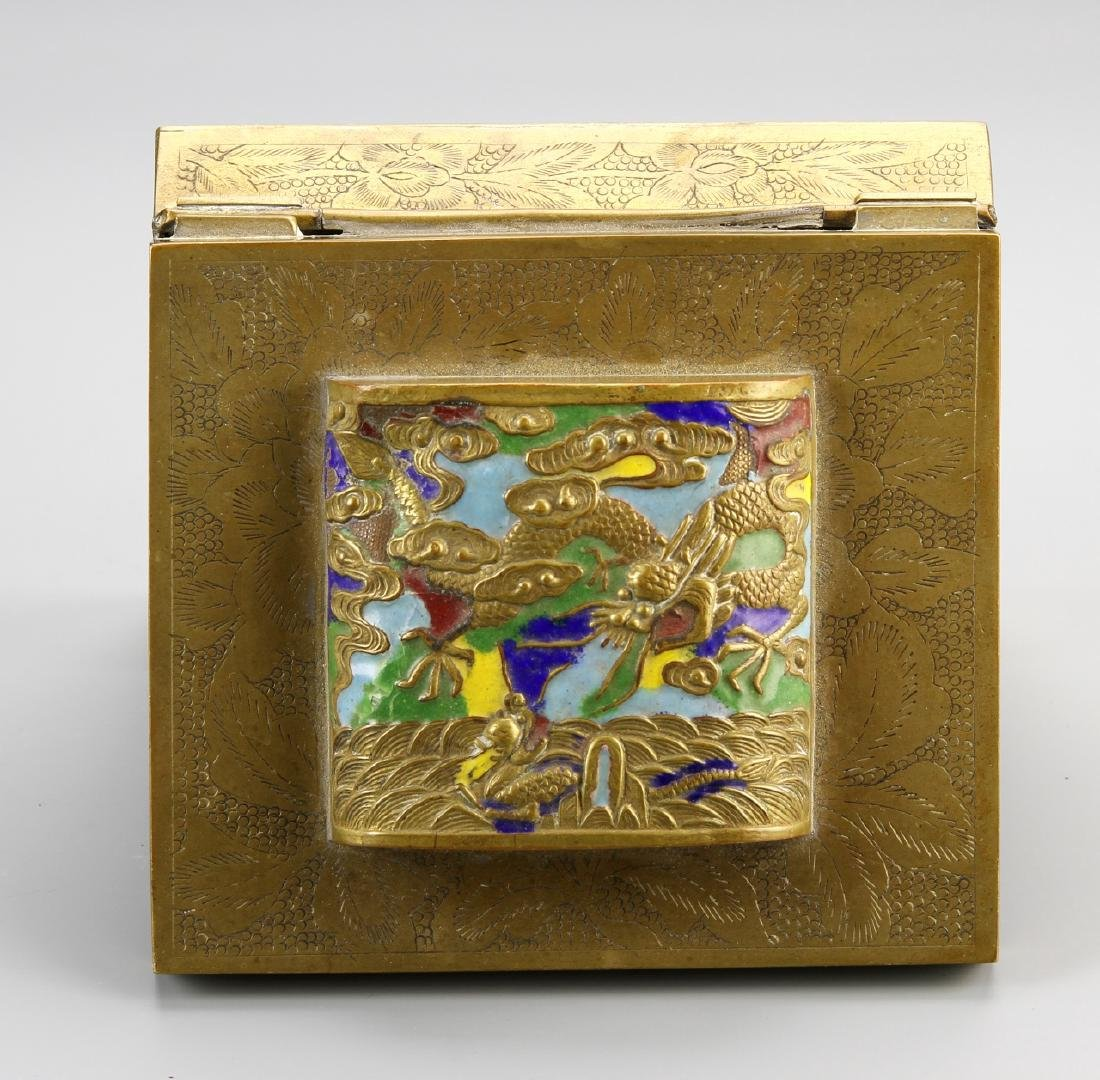 Chinese Enamel and Brass Ink Box - 3
