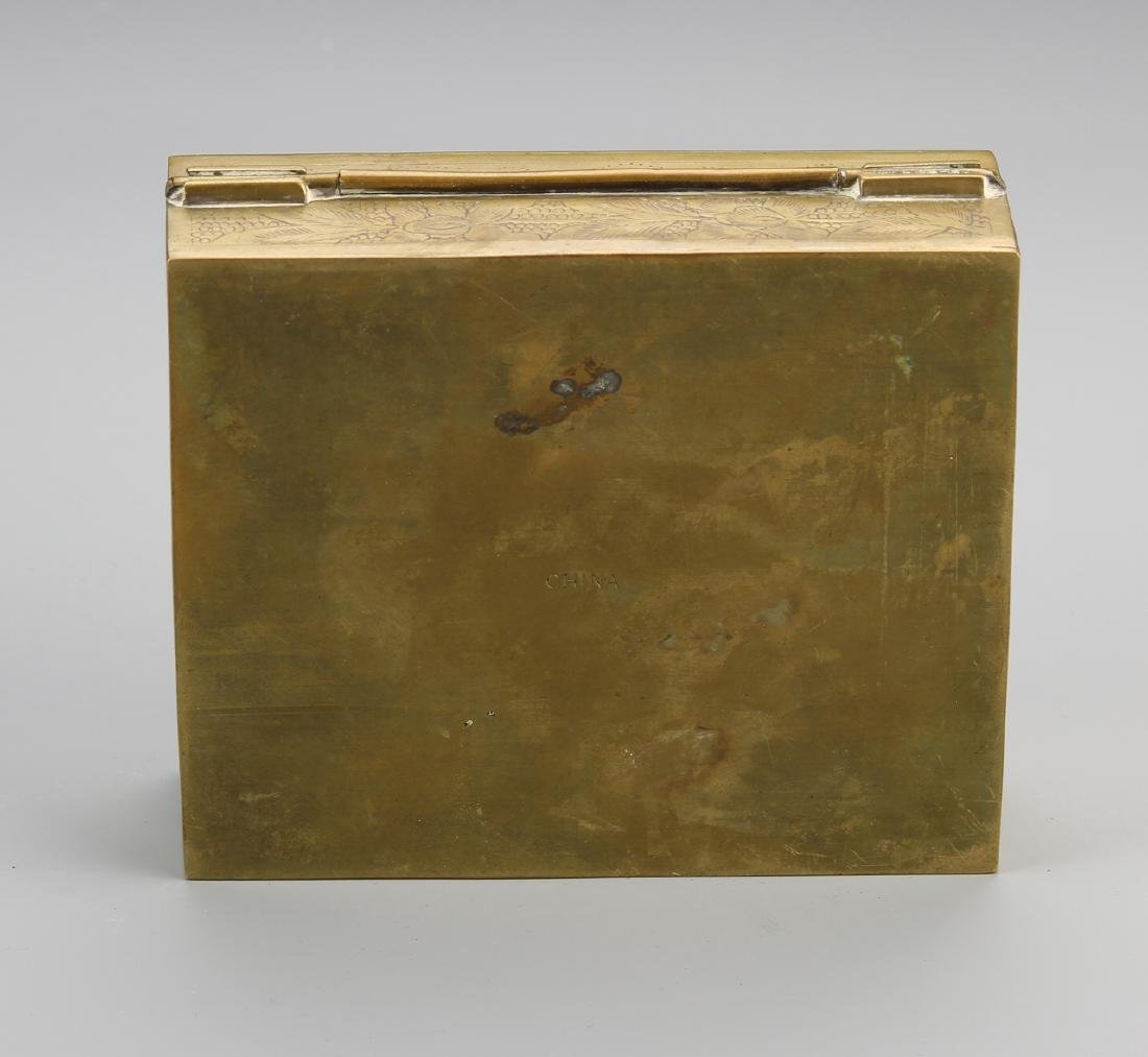 Chinese Enamel and Brass Ink Box - 4
