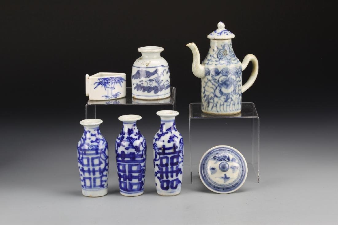Seven Chinese Blue and White Porcelain Items
