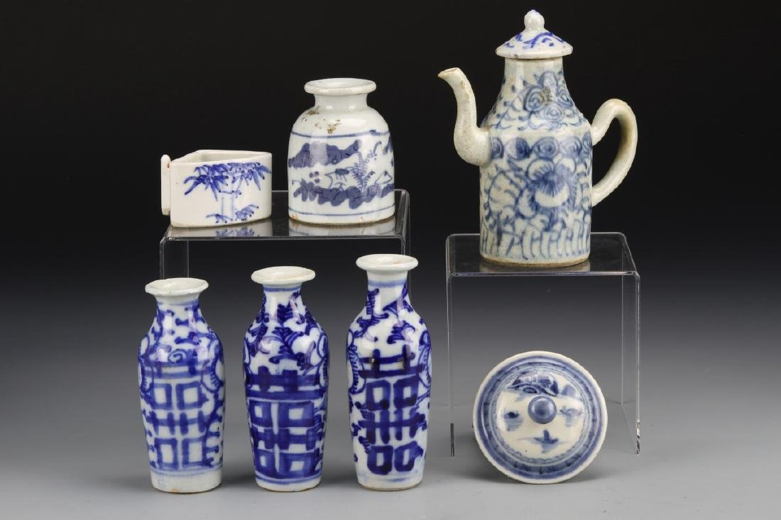 Seven Chinese Blue and White Porcelain Items - 2