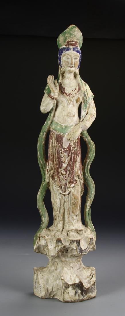 Chinese Painted Wood Guanyin