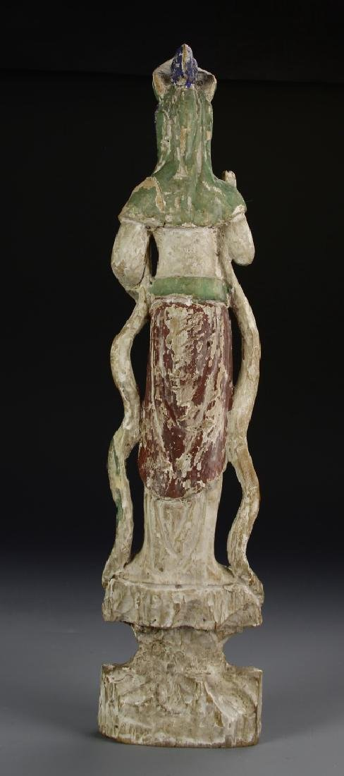 Chinese Painted Wood Guanyin - 4