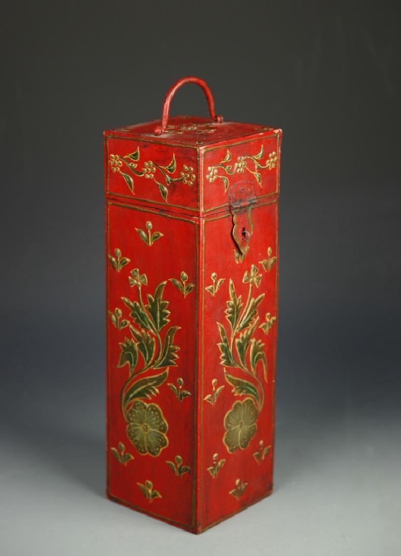 Chinese Lacquer Square Tall Box