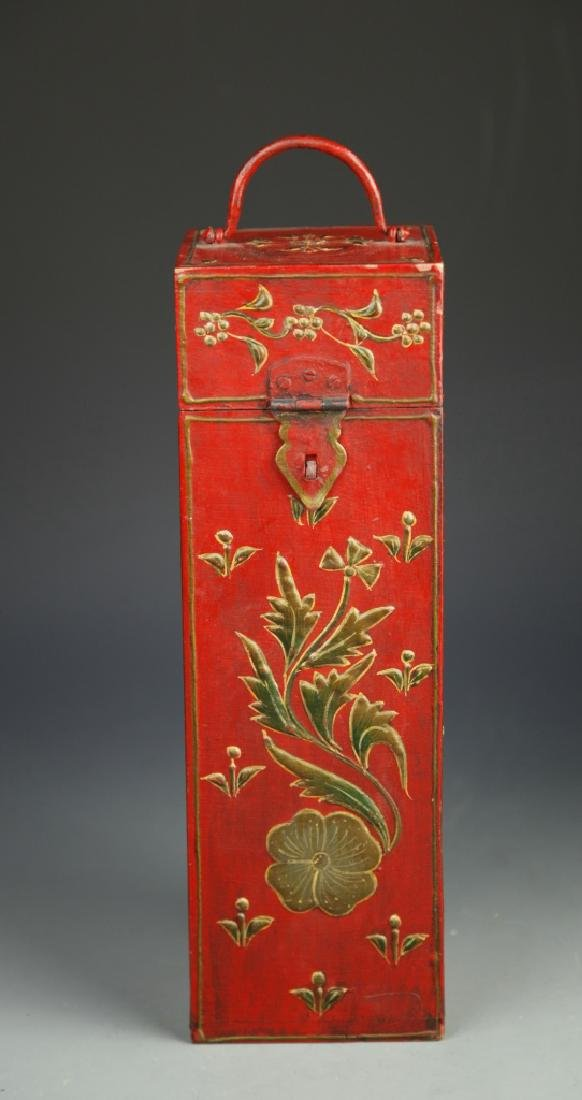 Chinese Lacquer Square Tall Box - 2