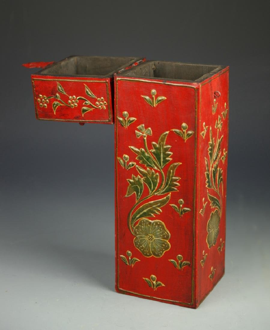 Chinese Lacquer Square Tall Box - 3