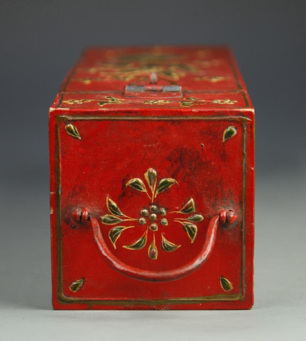 Chinese Lacquer Square Tall Box - 4