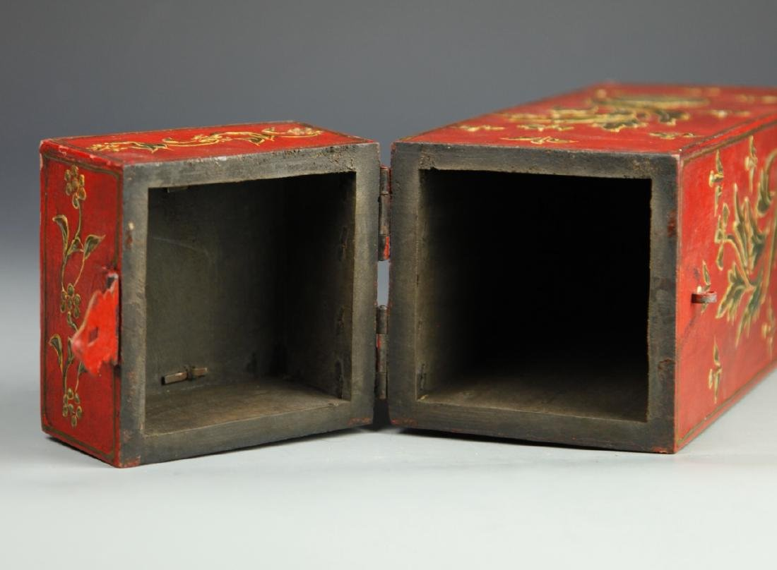 Chinese Lacquer Square Tall Box - 6