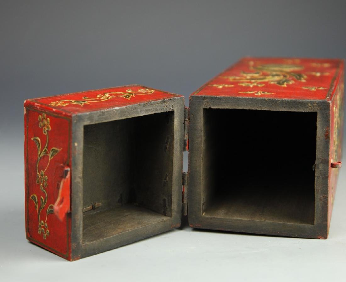 Chinese Lacquer Square Tall Box - 7