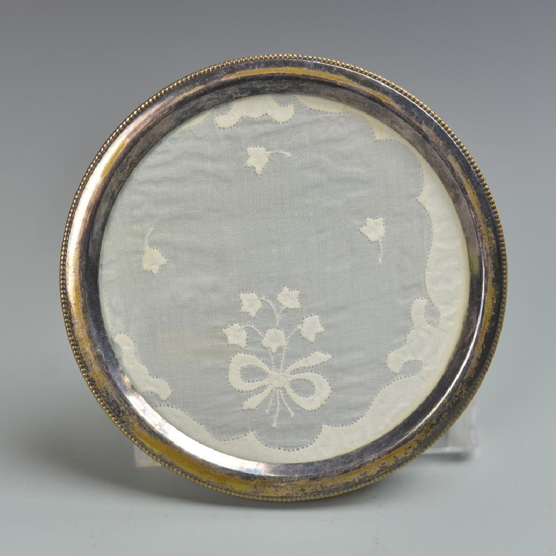 Chinese Silver Round Frame with Glass