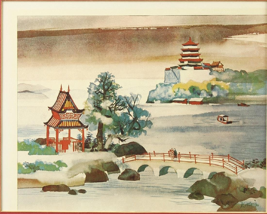 Pair of Chinese Water Color Prints
