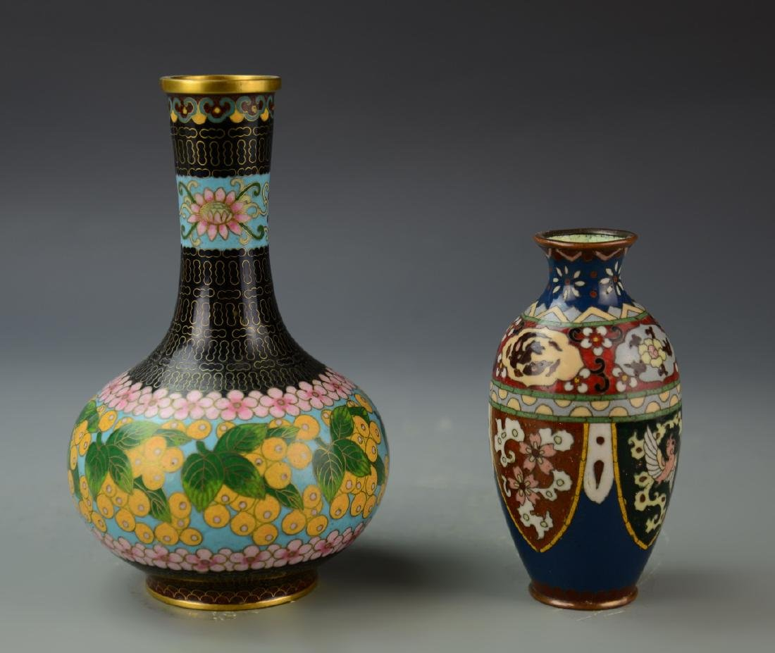 Chinese Two Cloisonne Vases