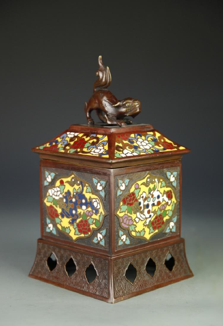 Japanese Square Cloisonne Censer