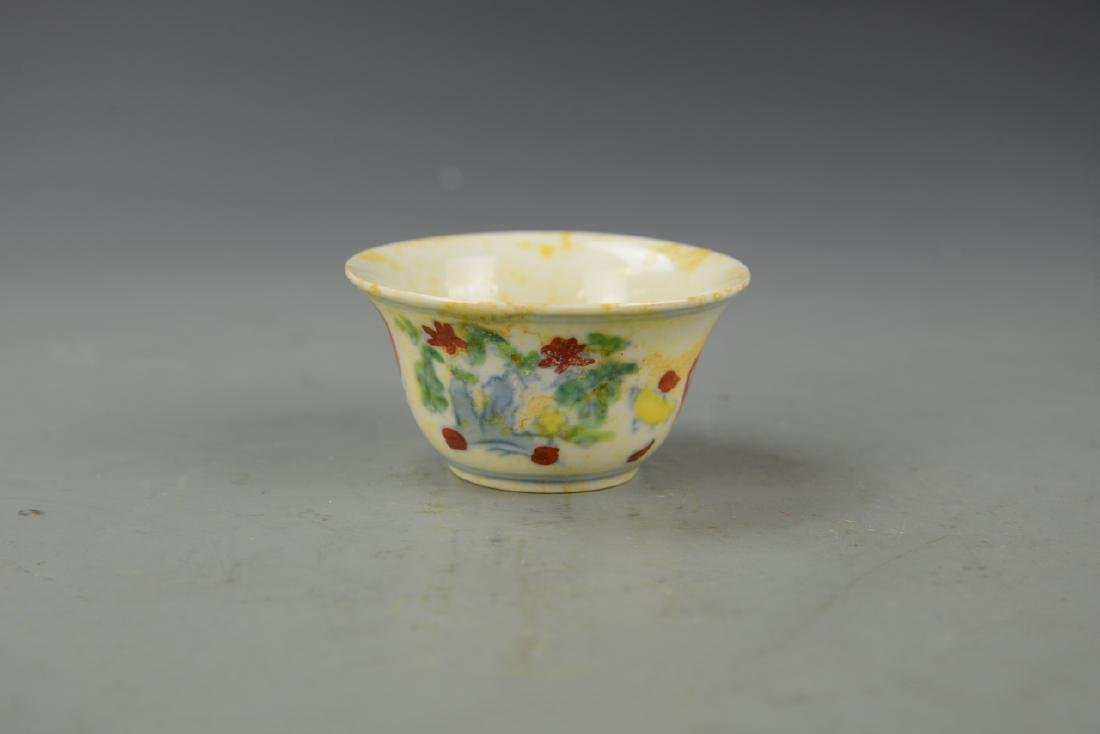 Chinese Doucai Rooster Cup