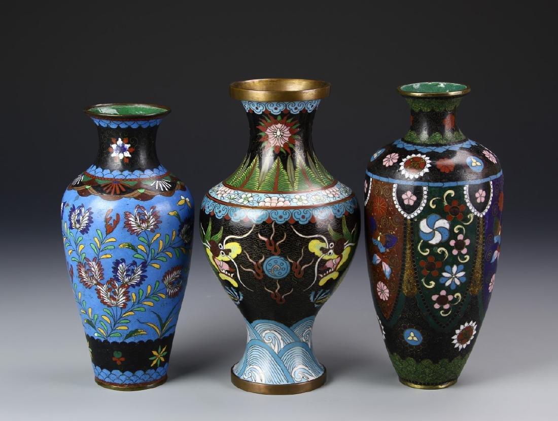 Three Chinese/Japanese Cloisonne Vases