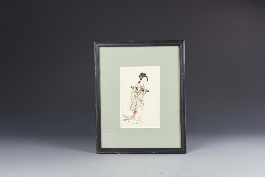 Chinese Lady Figure Painting Water Color