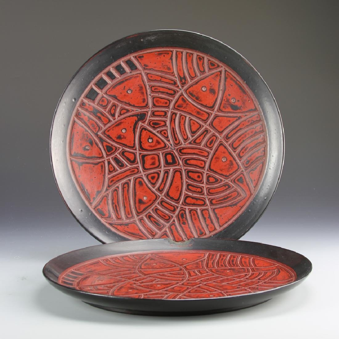 Pair of Chinese Lacquer Plates