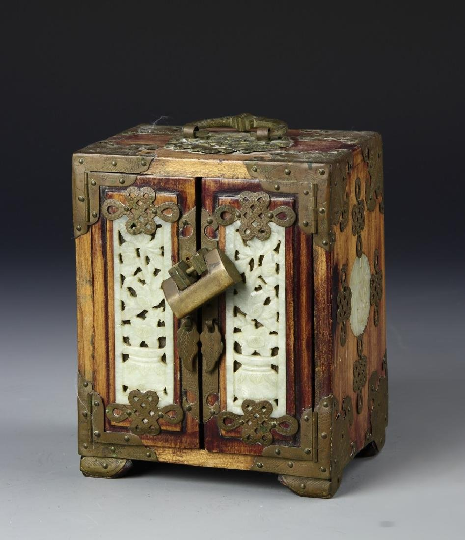 Chinese Wood Jewelry Box With Brass And Jade Works