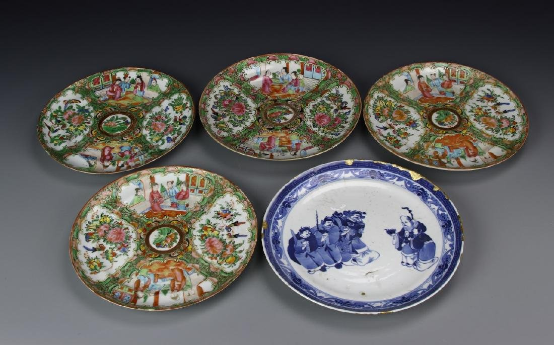 Blue/White Plate and Rose Medallion Plates