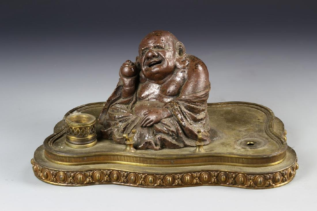 Brass Ink Well Pad With A Pottery Buddha Figure